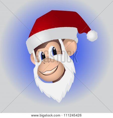 Christmas monkey in hat