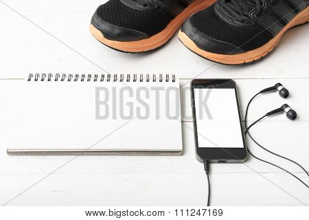 Running Shoes,notebook And Phone