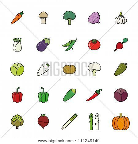 Vegetables filled outline vector icon set. Collection of vegetable icons, black outline with color fill.