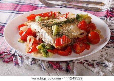 Tasty Flounder With Seasonal Vegetables Close-up. Horizontal