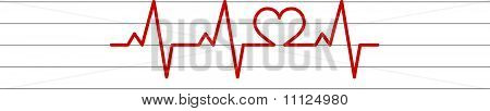 heart shape electrocardiogram vector