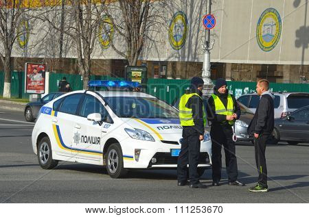 KIEV , UKRAINE - NOV 1, 2015. New Ukrainian Pro-American Police on Maidan Nezalezhnosti square secure downtown durig Gay-Maidan. November 1, 2015 in Kiev, Ukraine