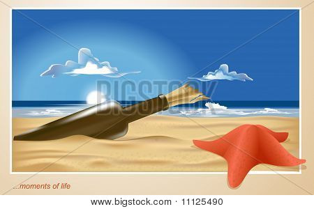 Vector Of A Lonely Beach With A Bottle And Starfish