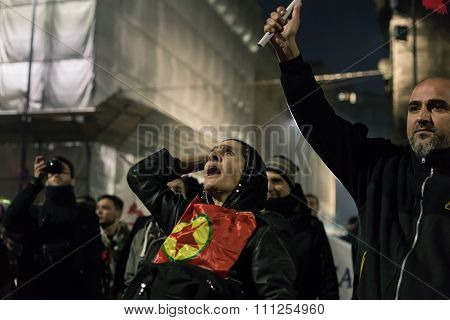 Kurdish Demonstrators Protesting In Front Of The Turkish Consulate In Milan, Italy