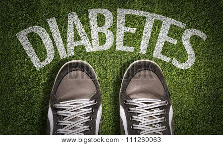 Top View of Sneakers on the grass with the text: Diabetes