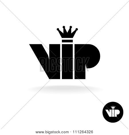 Vip Letters Abbreviation Simple Black Silhouette Icon Logo With Crown