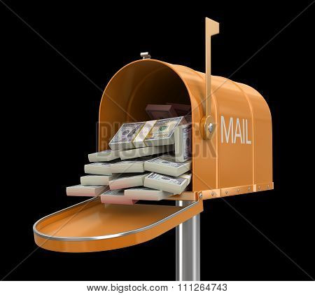 Open mailbox with dollars