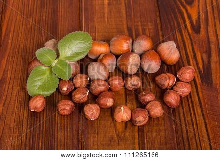 Hazelnuts with shell and green leaves