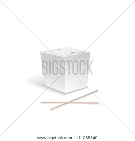 White Food box,  Container for fast Chinese food, take out noodle box with chopsticks. asian lunch,