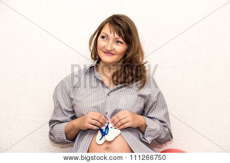 Beautiful Pregnant Middle-aged Woman.