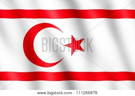 Flag Of Northern Cyprus Waving In The Wind