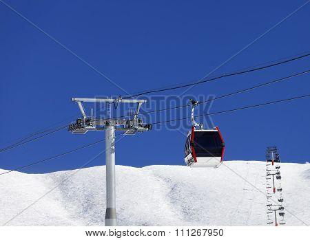 Gondola and chair-lifts at ski resort in nice day. Caucasus Mountains. Georgia region Gudauri. poster
