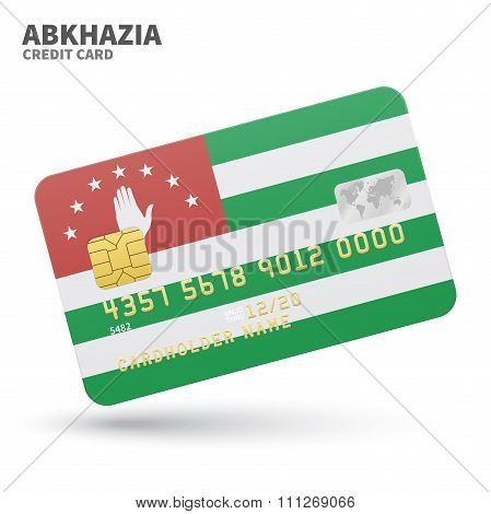 Credit card with Abkhazia flag background for bank, presentations and business. Isolated on white
