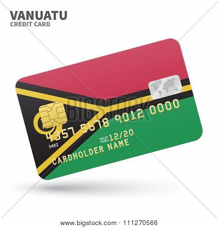 Credit card with Vanuatu flag background for bank, presentations and business. Isolated on white