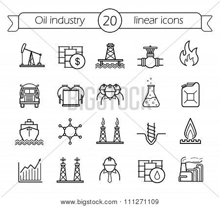 Oil industry linear icons set
