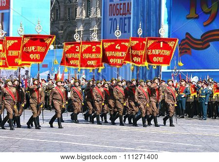 MOSCOW - MAI 7: Parade formation in solemn march on Red Square -  on Mai 7, 2015 in Moscow