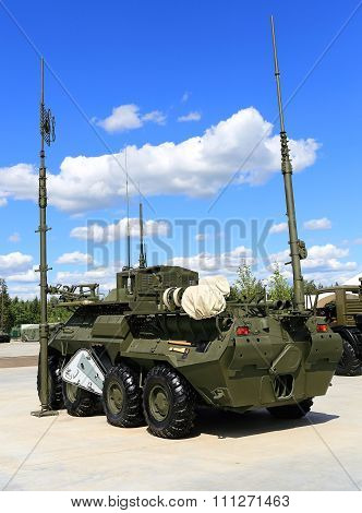 MOSCOW REGION  -   JUNE 17: Military armored vehicle antennas for field communication  -  on June 17, 2015 in Moscow region