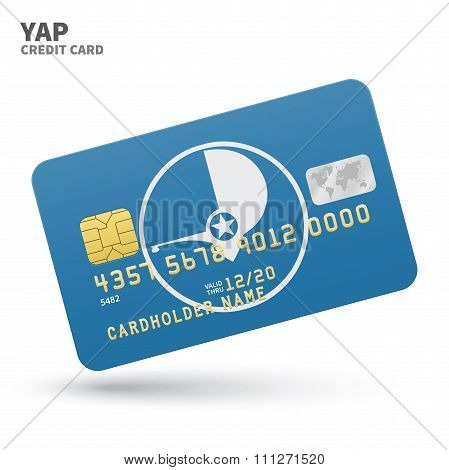 Credit card with Yap flag background for bank, presentations and business. Isolated on white