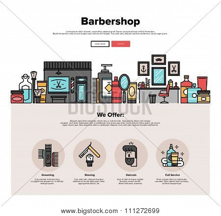 One page web design template with thin line icons of barbershop salon interior hipster haircut service barbers accessories for shaving. Flat design graphic hero image concept website elements layout. poster