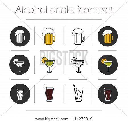 Alcoholic drinks icons set