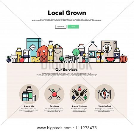 Farm Grown Food Flat Line Web Graphics