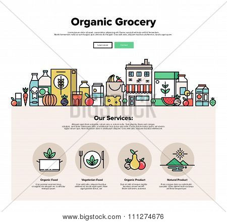 Organic Grocery Flat Line Web Graphics