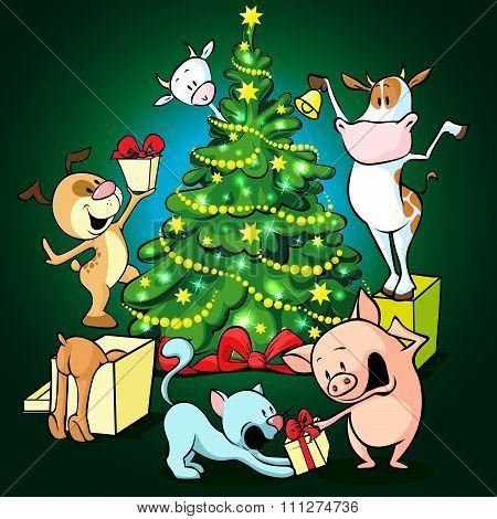 Farm Animals Celebrate Christmas Under The Tree - Vector Illustration