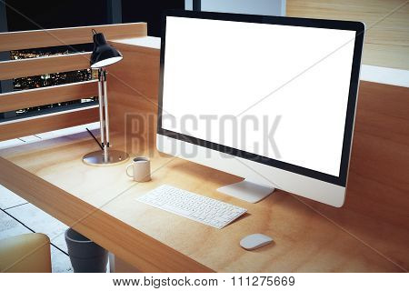 Blank White Computer Screen With Lamp On Wooden Table At Hight, Mock Up