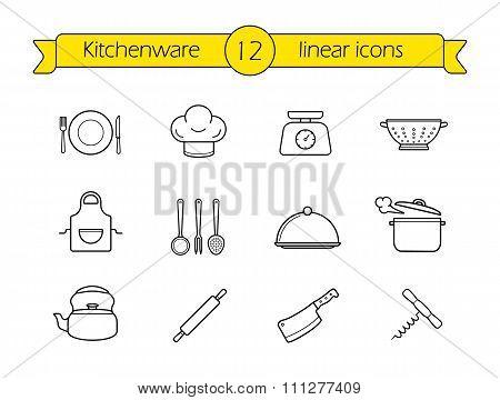 Kitchenware line icons set