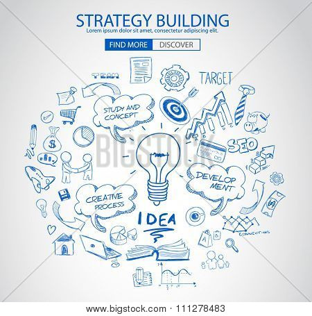 Strategy Building concept with Doodle design style :finding solution, brainstorming, creative thinking. Modern style illustration for web banners, brochure and flyers.