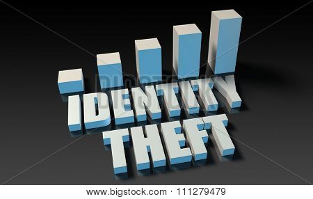 Identity theft graph chart in 3d on blue and black