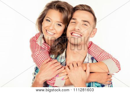 Cheerful Young Woman Embracing Her Boyfriend