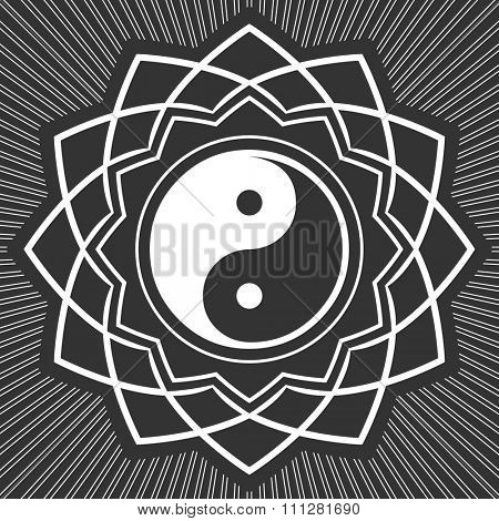 ying-yang floral decorate symbol