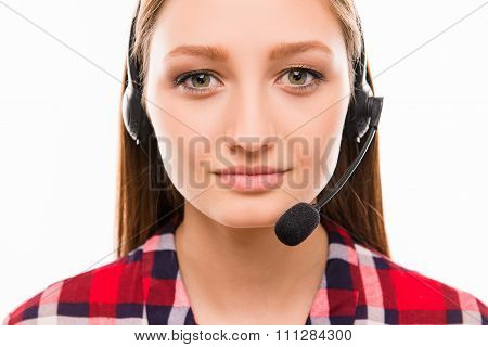 A Close-up Portrait Of Pretty  Assistant Of Call Centre