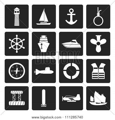Black Simple Marine, Sailing and Sea Icons
