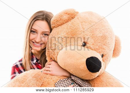 Cute Young Tenage Girl Hugs Her Teddy Bear