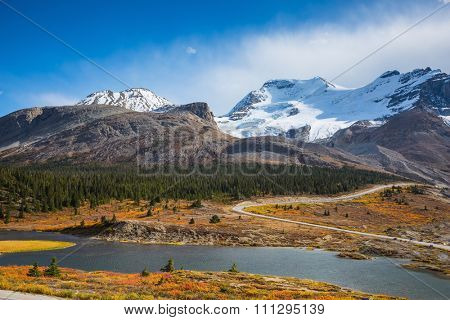 Lake from the melting of huge glaciers. The magnificent Rocky Mountains in Canada, Icefields Parkway Road