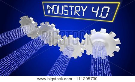 Industry 4.0 Concept Illustration Infographic Cogs