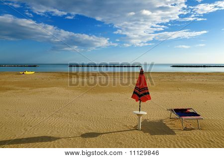 Deserted beach in early morning