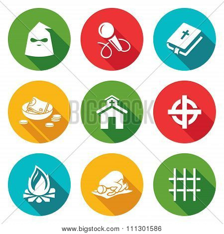 False religion, sect Icons Set. Vector Illustration.