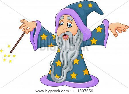 Cartoon wizard is waving his magic wand isolated on white background