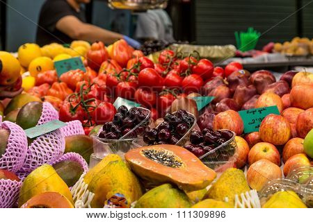 Fruit Market Place From La Boqueria Market, Barcelona, Spain.