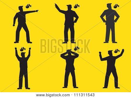 Angry Cartoon Man Silhouette Vector Illustration