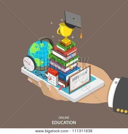 Online education isometric flat vector concept.