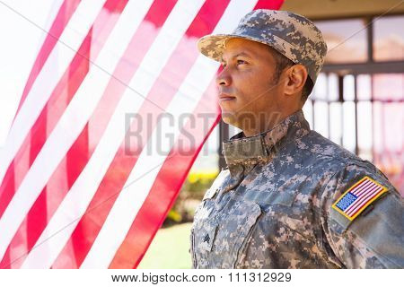 american military serviceman looking away