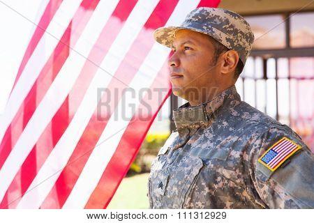 american military serviceman looking away