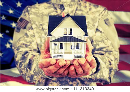 Veteran House Military Armed Forces Moving House American Culture Heroes Giving poster