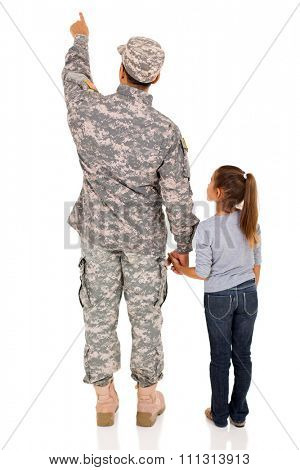 back view of military father and his daughter pointing at empty space