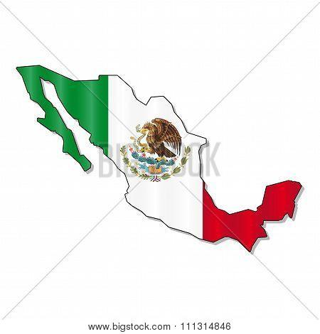 Mexico map flag