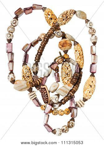 Tangled Necklace From Agate, Nacre, Coconut Beads